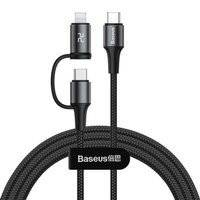 BASEUS 2IN1 TYPE-C TO TYPE-C & LIGHTNING CABLE 100CM BLACK