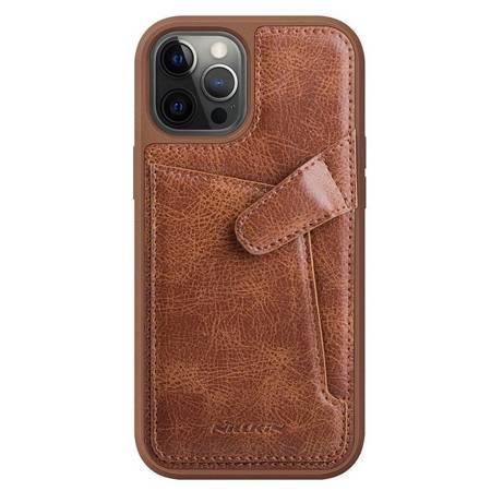 Nillkin Aoge Leather Case elastyczne pancerne etui z prawdziwej skóry z kieszonką iPhone 12 mini brązowy